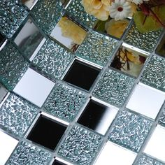 Wholesale Mirror Tile Squares Blue Bathroom Mirrored Wall Tile ...