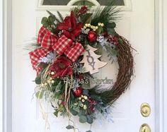 Christmas Wreath for Door-Winter Wreath-Farmhouse Christmas Decoration-Rustic Winter Wreath-Evergreen Wreath-Holiday Decor-Berry Wreath