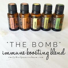 The Bomb, because a mama can't be sick, not even for a day. 2 drops each in an empty gel cap, top with FCO or eat with some fat to dilute. Oregano is a hot one