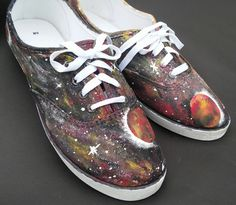 Galaxy Shoes vans converse custom shoes planet shoes purple pink orange yellow blue etc. by BeardArtStudios on Etsy