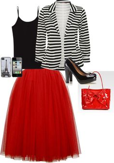 I like the edginess of the tulle, but the clean look of the rest of the outfit. Horizontal black and white stripes are not my thing, though. Cute Fashion, Modest Fashion, Fashion Looks, Fashion Outfits, Womens Fashion, Modest Outfits, Skirt Outfits, Dress Skirt, Dress Up
