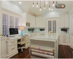 23 Craft Room Design Ideas (Creative Rooms) - Gorgeous White Craft Room and Home Office with Gift Wrapping Station, Mint Walls and Dark Wood Floo - Sewing Room Design, Craft Room Design, Sewing Rooms, Home Office Space, Home Office Design, Home Design, Office Decor, Office Designs, Design Design