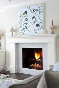 Stone tile around FP Casual Elegance - transitional - Living Room - Vancouver - Enviable Designs Inc. Fireplace Redo, Simple Fireplace, Fireplace Bookshelves, Farmhouse Fireplace, Fireplace Built Ins, Fireplace Remodel, Modern Fireplace, Brick Fireplace, Living Room With Fireplace