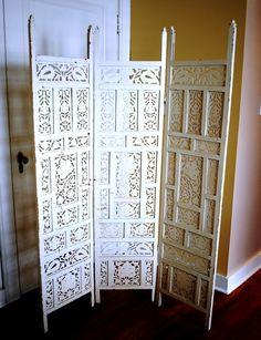 Shabby White Carved Wood Room Divider