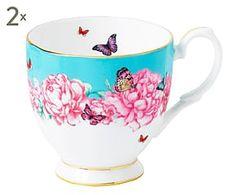 2 Tasses FRIEND porcelaine de chine, bleu et rose - 300mL