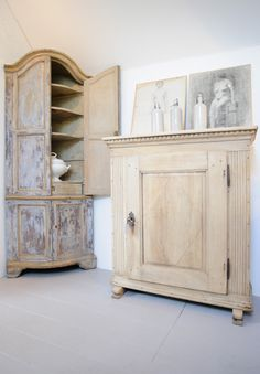 Hand scraped Italian corner cupboard and bleached Swedish cupboard,Anton and Winchcombe Cotswolds