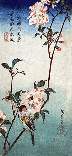 wall décor is mystical, captivating and beautiful and makes any room in your  home warm and inviting. You can get all  kinds of inspiration by these beautiful pieces of Asian home décor. Especially when you combine Japanese canvas art,  Small Bird on a Branch of Kaidozakura Japanese Wood-Cut Print (9x12 Art Print, Wall Decor Travel Poster)