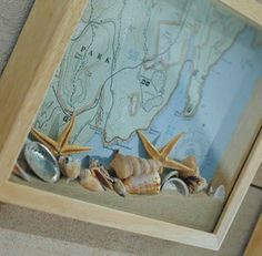 Shell, sand, and map shadow box