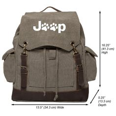 Jeep Wrangler Cat Dog Paw Prints Canvas Rucksack Backpack w/Leather Straps Olive. GREAT FOR EXPEDITIONS AND HIKING whether you're traveling across the outback or just across campus. This bag features several pockets for storage including: a spacious Main Compartment; perfect for your laptop (up to 15.6 inches), clothes, hiking gear, and even books; 2 Side Pockets for water bottle storage; and 1 Front Compartment with loop closure for added security. PERFECT MULTIFUNCTIONAL DESIGN makes…