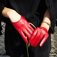 Leather Wrist Gloves by Carolina Amato. #gloves #Opensky
