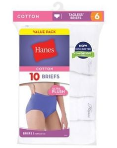 bbc79cd15289 10-Pack Hanes Women's Breathable Cotton Brief Panties - White - Size 6-10