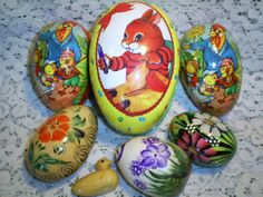 VINTAGE EASTER EGGS -3 PAPER MACHÉ GERMANY - 1 WOODEN w/ DUCK - 2 CERAMIC EGGS