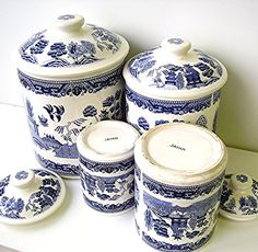 Vintage Blue Willow China Canister Set Blue and White Willow ware Ceramic Canisters Japan Blue Willow China, Blue And White China, Blue China, Love Blue, Delft, Blue Dishes, White Dishes, Chinoiserie, Vintage Canisters