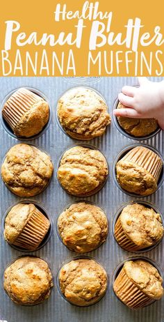 Food Ideas These Healthy Peanut Butter Banana Muffins are naturally sweetened with maple syrup, and packed full of healthy ingredients you can feel good about. They make a perfect after workout snack, make ahead breakfast or a snack for kids and toddlers! Healthy Snacks To Buy, Healthy Sweets, Healthy Breakfast Recipes, Healthy Baking, Recipes With Bananas Healthy, Healthy Food For Kids, Healthy Toddler Muffins, Easy Toddler Snacks, Healthy Cupcake Recipes
