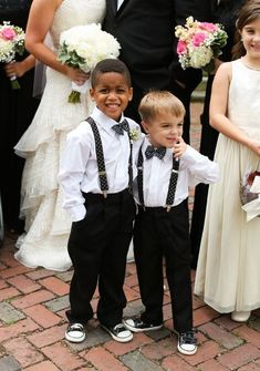 Timeless and Elegant Black and Gold Southern Wedding - Ring Bearer Outfit: white shirt, polka dot bow tie, polka dot suspenders, black pants, and converse sneakers. Flower Girls, Flower Girl Dresses, Wedding Wishes, Wedding Bells, Perfect Wedding, Dream Wedding, Wedding Ring, Wedding Gold, Ring Bearer Outfit