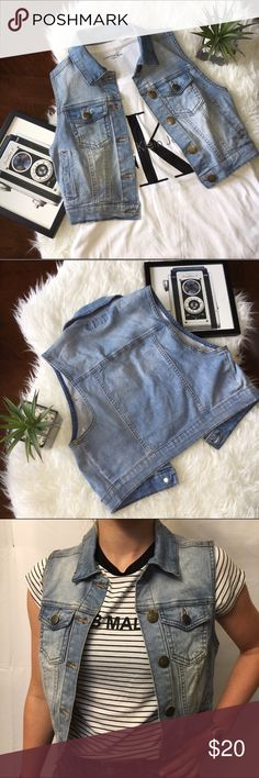 "On Trend Cropped Jean Denim Vest Excellent used condition. Light wash cropped denim vest. Super cute and right on trend💕Armpit to armpit: 16"". Shoulder to hem: 16"". No tears, holes, or stains. Smoke free home. No trades please. Jackets & Coats Vests"