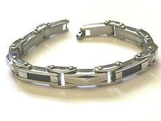 """Men's Black Carbon Fiber Stainless Steel Bracelet 10mm Width 8"""" Length     eBay Stainless Steel Polish, Stainless Steel Jewelry, Carbon Black, Link Bracelets, Carbon Fiber, Bangles, Chain, Silver, Ebay"""