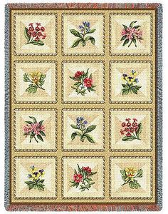 70x54 FRENCH FLORAL Posies Flowers Tapestry Afghan Throw Blanket