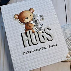 Card critters bear dog MFT Friends Furever Die-namics #mftstamps scripty HUGS sripty words and letters MFT background stamp Die-namics