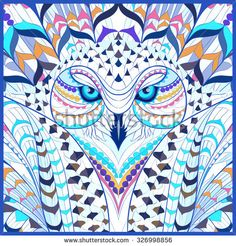 Find Patterned Snowy Owl Indian Totem Tattoo stock images in HD and millions of other royalty-free stock photos, illustrations and vectors in the Shutterstock collection. Totem Tattoo, Snowy Owl, Art Visage, Cool Doodles, Crochet Owls, Mandala Dots, Vector Pattern, Tattoo Images, Tattoo Designs