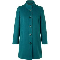 Eastex Teal funnel neck coat ($225) ❤ liked on Polyvore featuring outerwear, coats, clearance, turquoise, teal coat, funnel coat, blue coat, funnel-neck coat and eastex