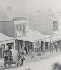 Horse and carriage outside Basting's general store, High Street, Northcote, circa 1890. Darebin Heritage.