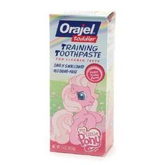 Orajel Toddler Training Toothpaste, My Little Pony, Pinkie Fruity Flavor, 1.5 oz. by ORAJEL. $6.99. ncludes: Tooth Paste. Health Concern: Gum Care, Tooth Care. Flavor: Fruit. For cleaner teeth. Safe if swallowed. Fluoride-free. Orajel Toddler Training Toothpaste helps clean your child's teeth and best of all, it's fluoride-free so it's safe if swallowed when used as directed. Swallowing too much fluoride can cause fluorosis or white spots on your child's permanent tee...