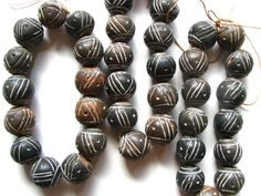 13 Vintage African Mali Clay Beads, Large Black Dogon Clay Beads Crafted by Master Artisans in Mali/Cote d'Ivoire/Ivory Coast/West Africa