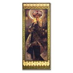 The Moon Canvas Art by Alphonse Mucha - About this art work: This piece is a giclee print of the artist's original work. The piece arrives on wrapped canvas, with a luxurious 2-inch dept...