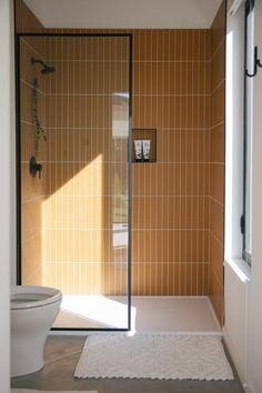 Bathroom Decor tiles The Nooq: Falcon Glass Tile Bathroom Bad Inspiration, Bathroom Inspiration, Bathroom Ideas, Bathroom Designs, Shower Tile Designs, Restroom Ideas, Glass Tile Bathroom, Tile Bathrooms, Master Bathrooms