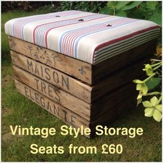 Visit our etsy shop www.etsy.com/uk/shop/MaisonTresElegante Vintage style storage seats upcycled from genuine used rustic apple crates. Priced from £60 - plain crate with unbuttoned seats, £75 with button detailing, £90 for buttoned seats and personalised with your choice if writing. A great gift idea for a newborn baby with name and child's date of birth or wedding gift idea or your own choice of writing. Contact us for details on ordering.