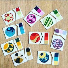 Вот такую классную самодельную игру придумала Лена @elena_kind: это и простой пазл, и совмещение палитр. Вам понадобится плотная бумага или картон для основы и палитры, которые можно взять в строительном магазине #baby_picasso_школа #учим цвета #изучаемцвета