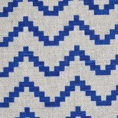 Azig - Cobalt - Bright blue and pale grey woven linen fabric with a pattern of stepped horizontal zigzags