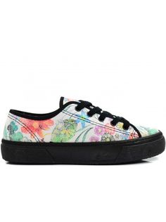 Check out this new hot site with cheap shoes! ILC FLOWER DAMES SNEAKER BONT FASHION- WIT ZWART #fashionfootwear