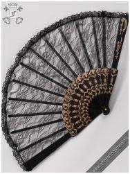 Black Swan gothic lace folding fan
