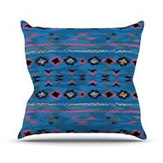 KESS InHouse NM1057AOP03 18 x 18-Inch 'Nina May Navano Blue Tribal' Outdoor Throw Cushion - Multi-Colour -- Click image to read more details. #GardenFurnitureandAccessories