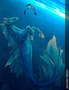 Los hipocampos son también los salvavidas del mar, rescatan a cualquier persona que caiga al agua, sobre todo pescadores que, una vez rescatados, suelen estar agradecidos de por vida a los benevolentes hipocampos.