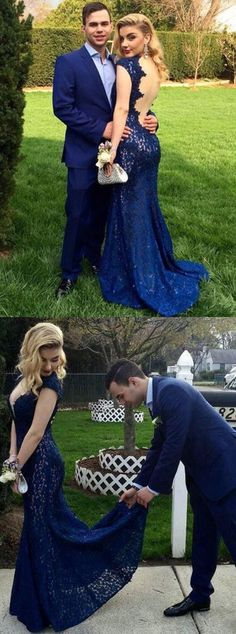 mermaid prom dress, royal blue lace long prom dress, 2017 prom dress, evening dress, formal evening dress, backless party dress