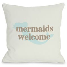 """Mermaids Welcome"""" Outdoor Throw Pillow by OneBellaCasa, 16""""x16"""