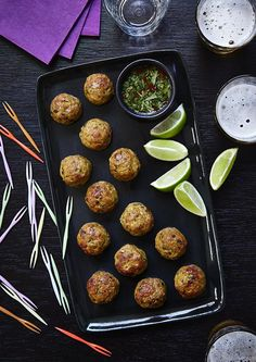 Thai-Spiced Chicken & Pork Meatballs with a Lime & Chilli Dipping Sauce (Paleo, Gluten-Free)