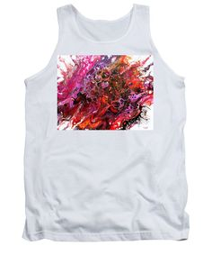 Original Abstract Fluid Art Canvas Organic Feeling Explosion Of Bright Vibrant Happy Pinks Oranges Yellows Purple And Dramatic Black Lacy Pattern Of Orbs Contemporary Dynamic And Fun Tendrils Tank Top featuring the painting #805 A Color Blast by Expressionistart studio Priscilla Batzell