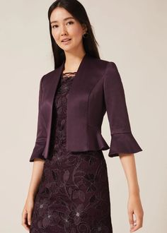 Buy Phase Eight Purple Amanda Flared Cuff Jacket from the Next UK online shop Occasion Wear, Occasion Dresses, Making A Wedding Dress, Designer Jumpsuits, Dresses For Work, Formal Dresses, Jacket Dress, Fitness Fashion, Trendy Fashion