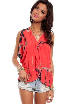 Go With The Flow Top in Coral $33 at www.tobi.com