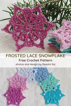 Make a bunch of snowflakes using this flower star snowflake pattern. Free Crochet Snowflake Patterns, Crochet Stars, Christmas Crochet Patterns, Holiday Crochet, Crochet Snowflakes, Crochet Flower Patterns, Thread Crochet, Crochet Crafts, Crochet Flowers