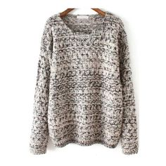 SheIn(sheinside) Grey Round Neck Mohair Loose Sweater (€23) ❤ liked on Polyvore featuring tops, sweaters, grey, shein, sheinside, grey pullover sweater, colorblock sweater, long sleeve pullover sweater, gray pullover sweater and mohair sweater