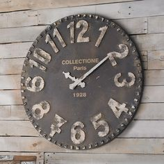 With rustic, industrial charm and large format numbers for visibility, this clock is a welcome, functional addition to any room. Some variation in color and distressing may Requires AA batteries.