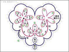 T_8 花のハート1 編み図