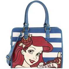 Hot Topic Disney The Little Mermaid Ariel Striped Bag (£29) ❤ liked on Polyvore featuring bags, handbags, black, embroidered handbags, zipper pouch, zip purse, striped bag and striped purse