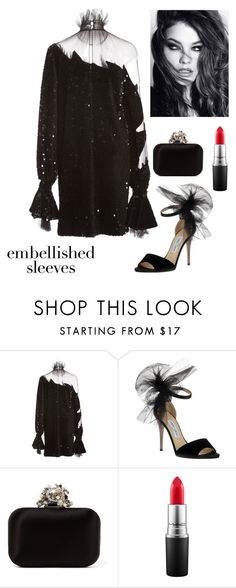 """""""Embellished Sleeve Cocktail Dress"""" by kotnourka ❤ liked on Polyvore featuring Alena Akhmadullina, Jimmy Choo, Vince and MAC Cosmetics"""