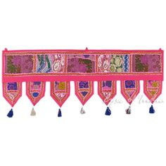 "Pink Patchwork Boho Door Window Bohemian Valance Toran Tapestry Hanging- 40"" Pink Home Decor, Boho Kitchen, Windows And Doors, Valance, Tapestry, Polyvore, Kitchens, Design, Bohemian"